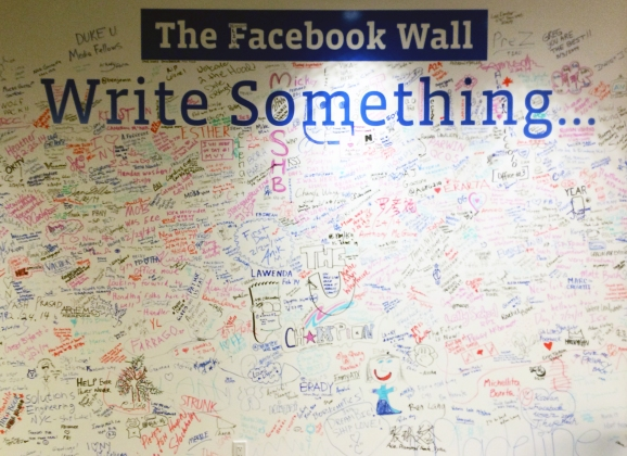"""The """"wall"""" in Facebook's New York City office."""