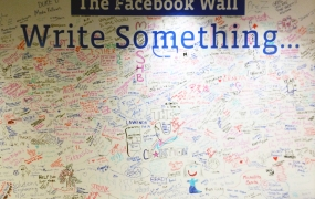 "The ""wall"" in Facebook's New York City office."