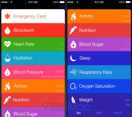 A mockup of Apple's Healthbook app, expected in iOS 8.