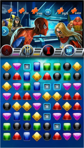 Marvel Puzzle Quest is a mix of match-3 an role-playing game -- and it's a mobile success.
