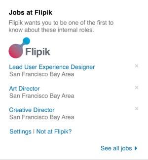 LinkedIn's internal jobs widget.