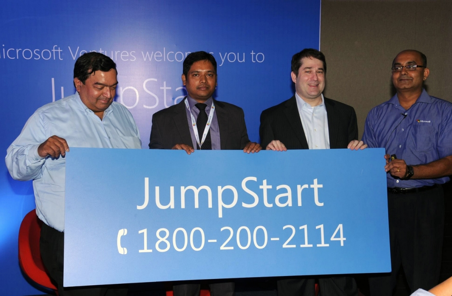 Ravi Gururaj, Dr. Rathan Kelkar, Joseph Landes, and Rajinish Menon officially launch JumpStart, a hotline that answers business and technical questions for startups and entrepreneurs.