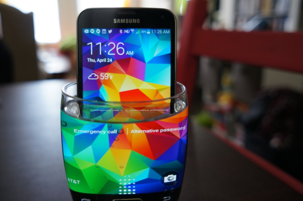 The Samsung Galaxy S5 is truly water resistant. Don't try this with your smartphone.