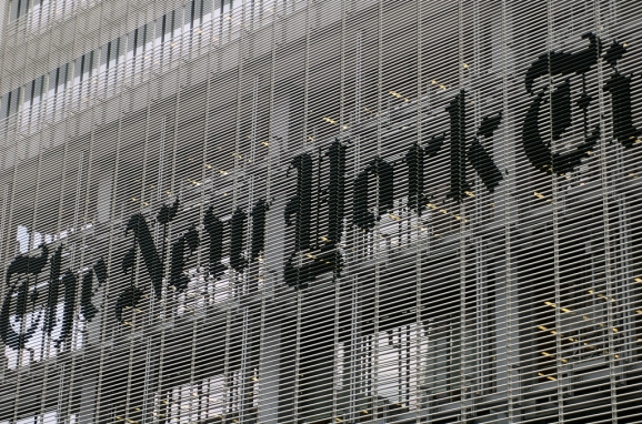 The New York Times 8th Avenue building sign.