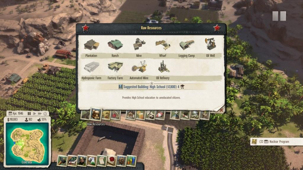 Tropico 5 Build Screen