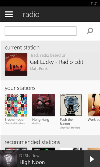 The newest version of Spotify's mobile app for Windows Phone 8 devices