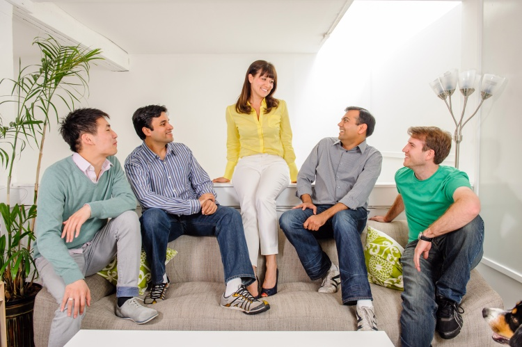 6Sense founder and CEO Amanda Kahlow (center) with her four cofounders: Dustin Chang, Viral Bajaria, Premal Shah, and Shane Moriah (left to right).