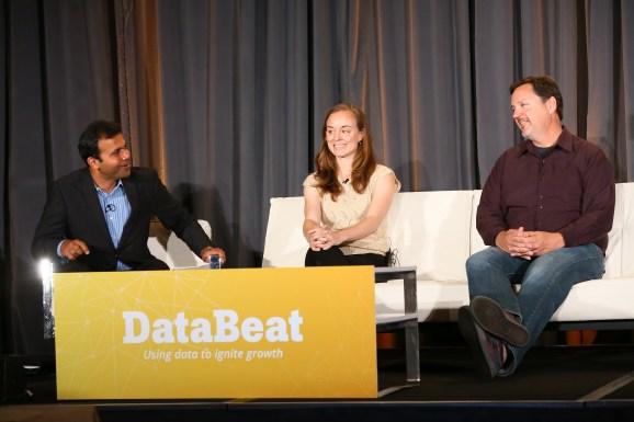 Mindjet data scientist Anna Gordon at VentureBeat's DataBeat conference (center), sitting between Intel Capital managing director Dharmesh Thakker (left) and Looker CEO Frank Bien (right).