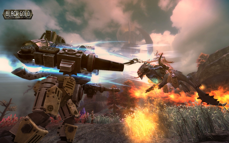 Carrier to carrier combat gives Black Gold Online a bit of a Titanfall vibe.