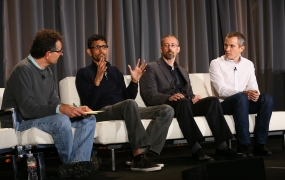 From left to right: Roger Magoulas of O'Reilly Media; Vijay Subramanian of Rent the Runway; Michael Cavaretta of Ford; and Sylvain Le Borgne of Havas Media.