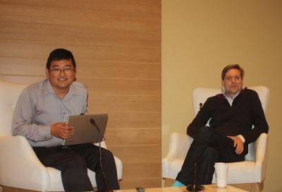 Dean Takahashi and David Helgason at Mobile Gaming USA