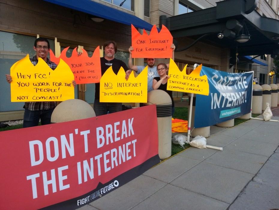 "Anti-""Fast Lane"" protestors camped outside FCC."