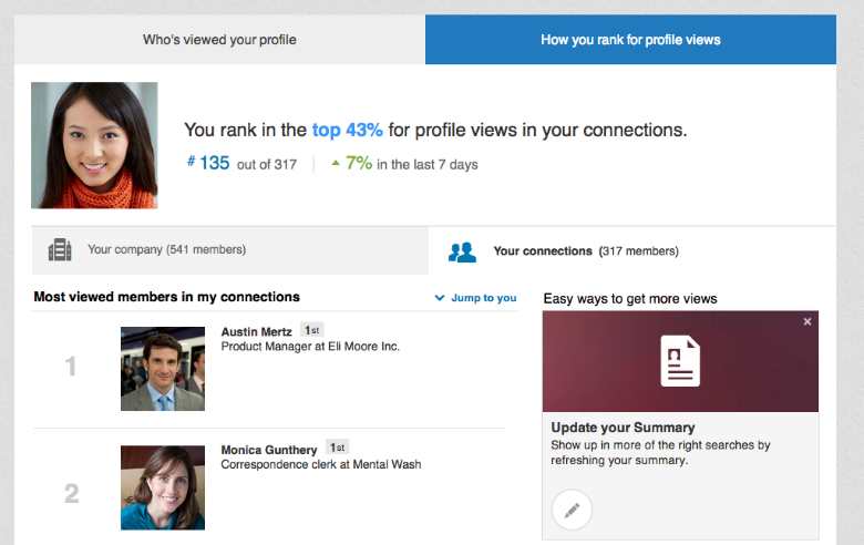 Screen shot of LinkedIn's new How You Rank page.