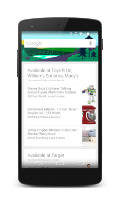 New shopping reminder cards on Google Now for Android.