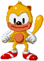 He looks like a Sonic that got into a dirty snowball fight.