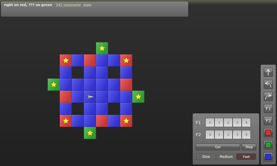 Robozzle looks simple at first but soon reveals its complexities.