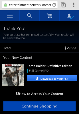 You can download to PS4 directly from your smartphone.