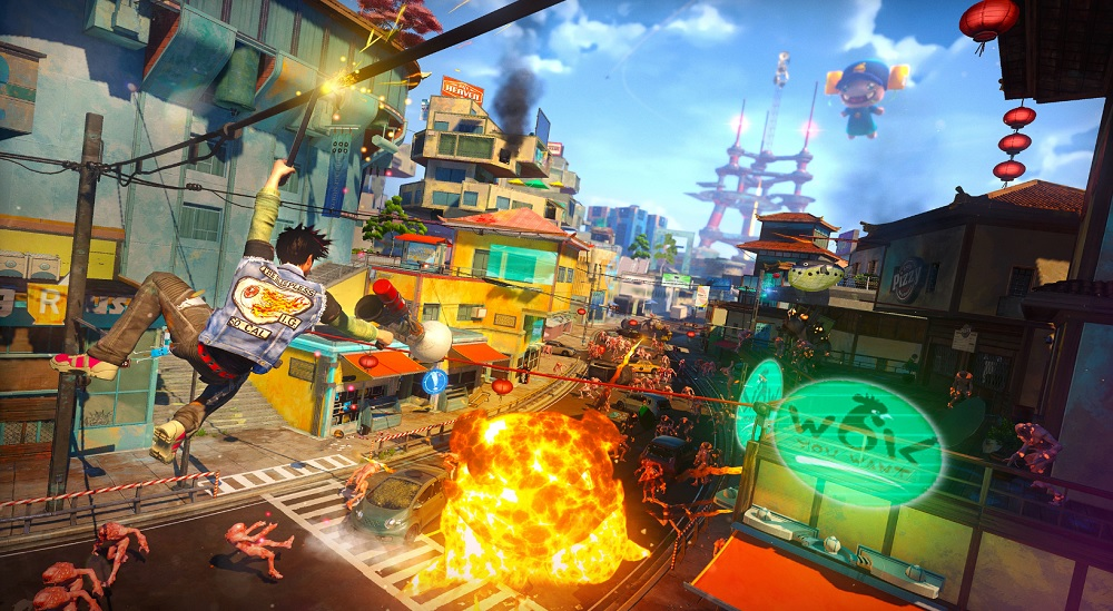 Sunset Overdrive's explosive colors in action.