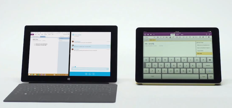 Surface and iPad, side-by-side