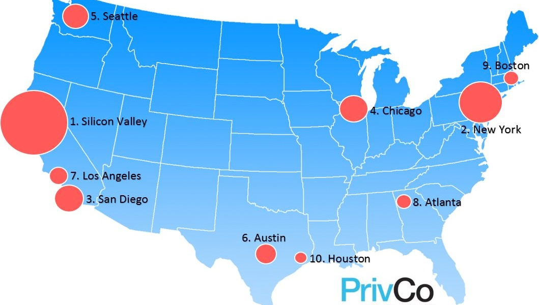 The top 10 U.S. metro areas for tech acquisitions last year, according to PrivCo.