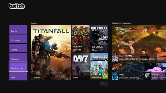 Twitch broadcasts operate through a separate application on the Xbox One.