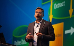 "George Mathew, president and chief operating officer of Alteryx, speaks at the company's ""Inspire"" user conference."