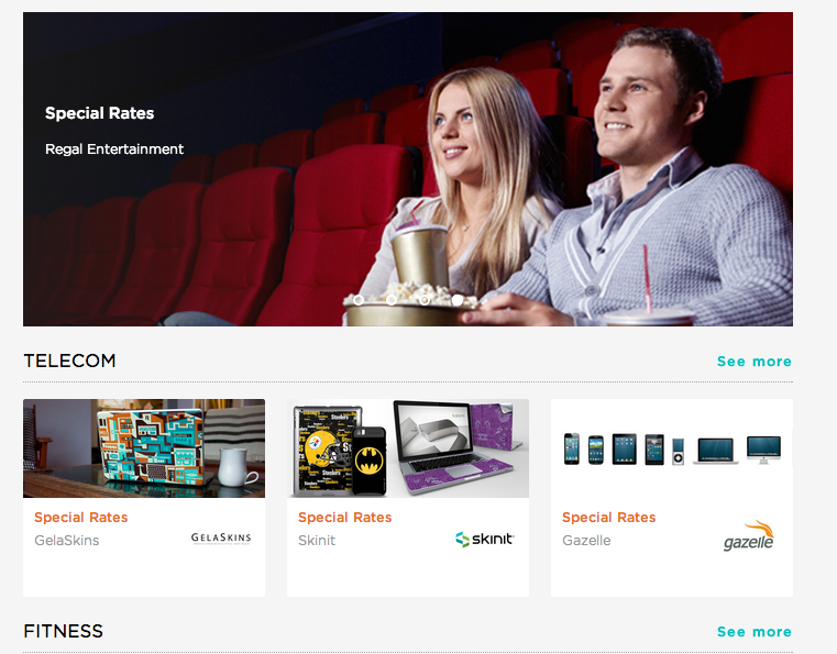 Sample employee perks from the AnyPerk home page.