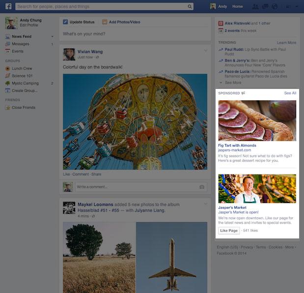 Facebook's new column ad design.