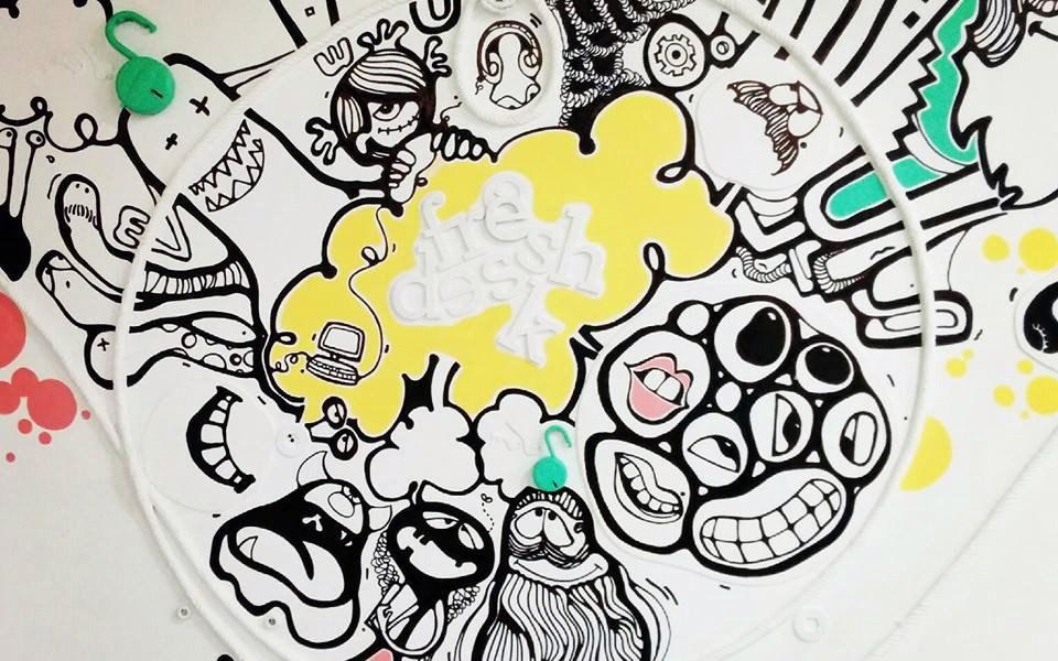 Artwork at the Freshdesk office.