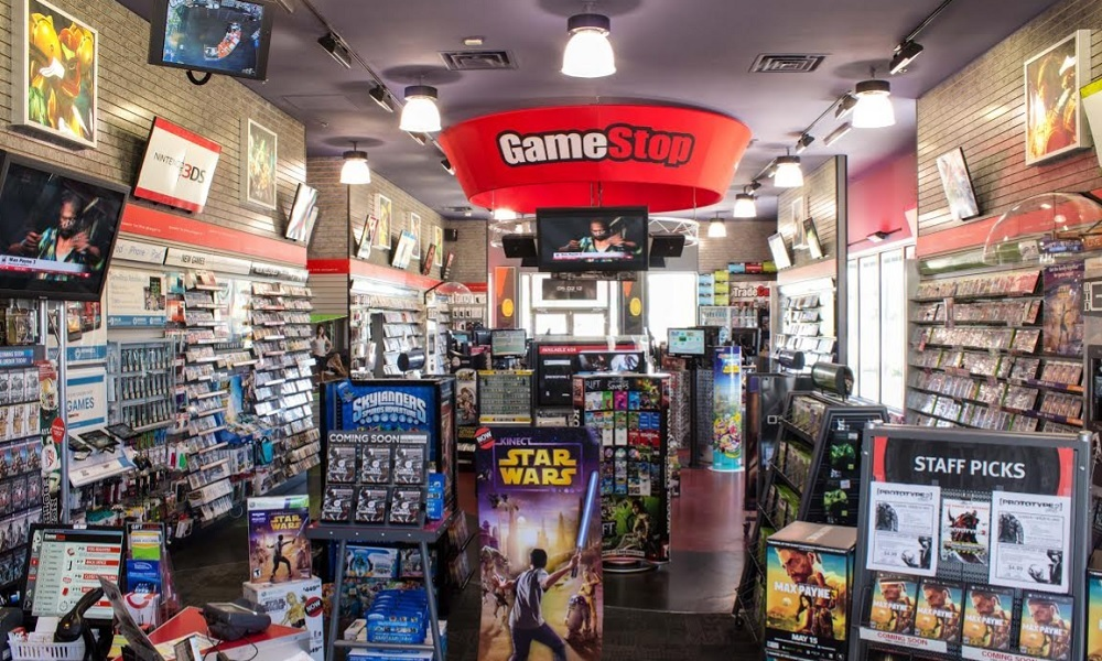 Inside a GameStop store.