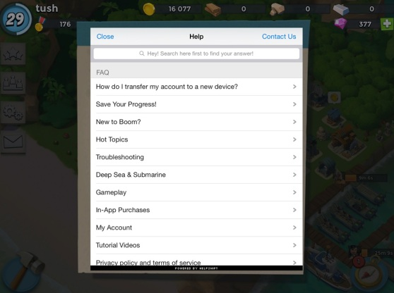 Helpshift is used in Supercell's Boom Beach app.
