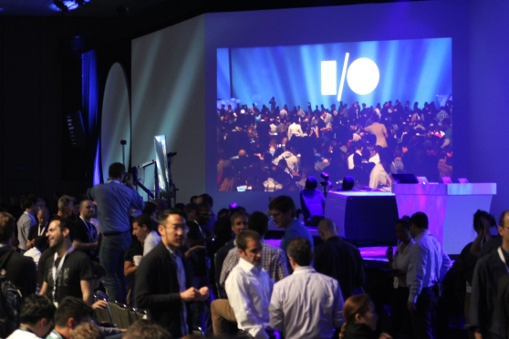 The tech media wait to watch Google's I/O 2014 keynote.