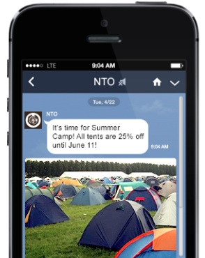 Example of a marketing message on LINE