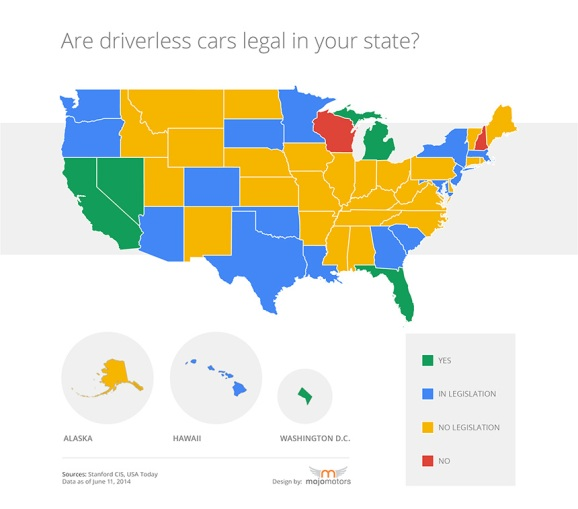 The Worst Out Of State Drivers In Your State: Find Out If Google's Driverless Car Is Legal In Your State