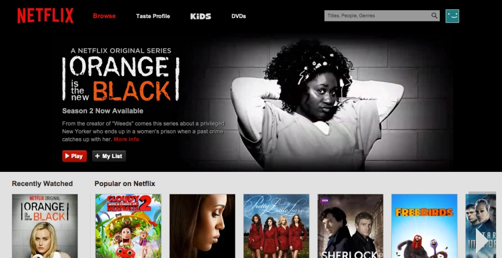 The redesigned Netflix site.