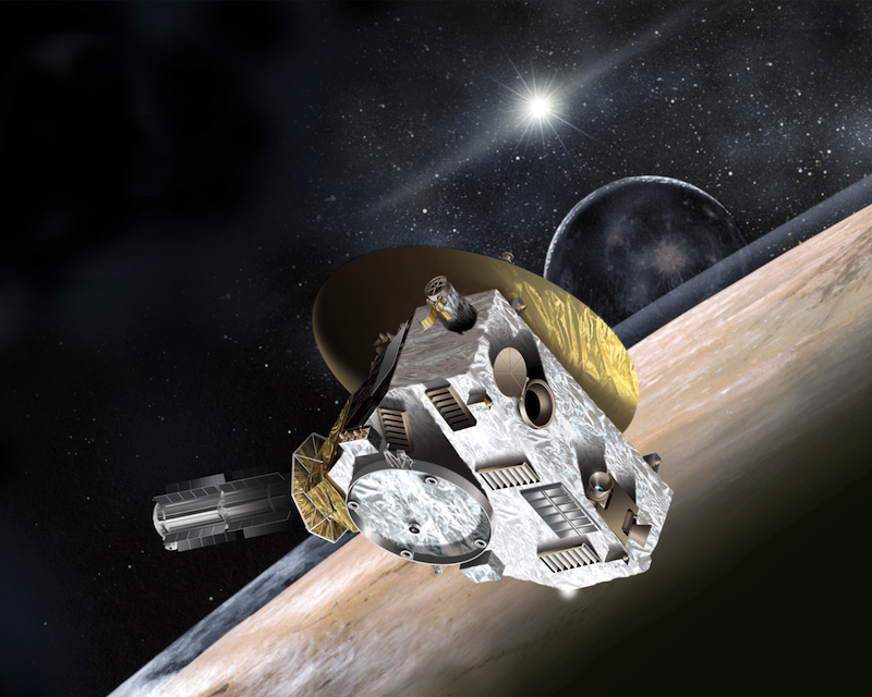 Artist conceptualization of the unsuspecting New Horizons spacecraft
