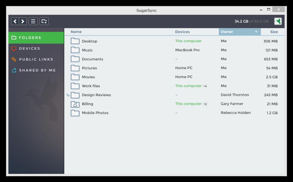 The new 'folders' view on SugarSync's desktop app.