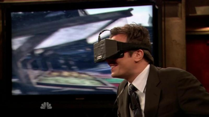 Jimmy Fallon trying a prototype of the Oculus Rift.