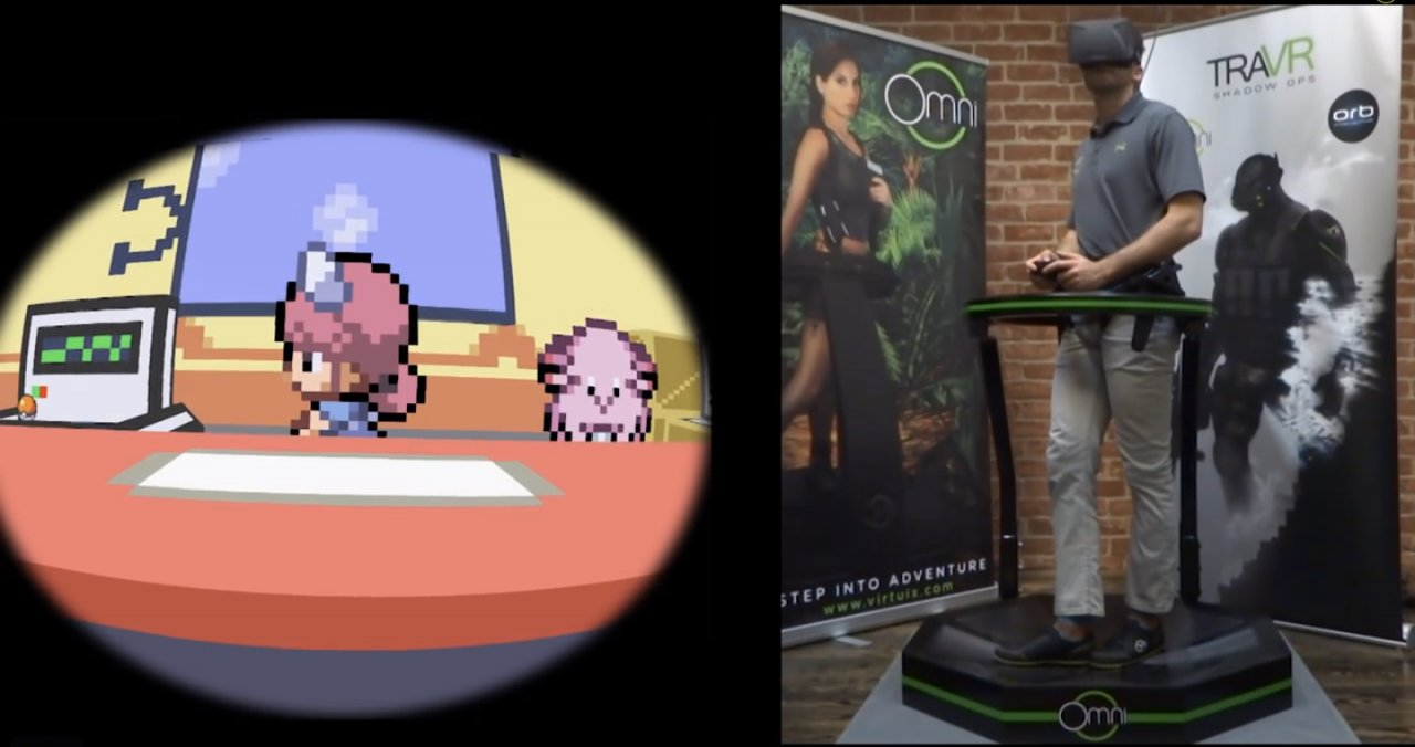 A gamer using the Omni and an Oculus Rift to play a virtual version of Pokémon.