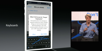 iOS 8 will support third-party keyboards, including Swype