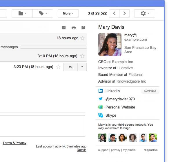 A screenshot of the Rapportive plugin in Gmail.