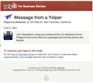 Yelp -- message businesses