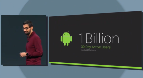 Google senior vice president Sundar Pichai with a slide boasting of Android's 1 billion users.