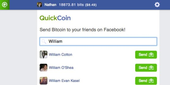The QuickCoin interface.