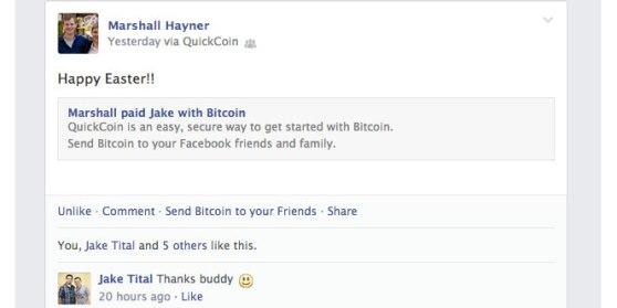 Facebook feed after receiving BitCoin.