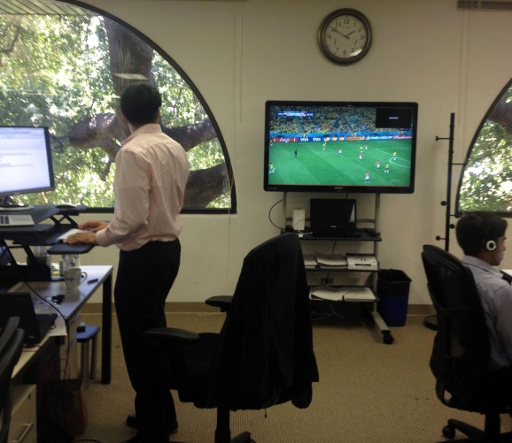 A Skyhigh Networks employee watches the World Cup.