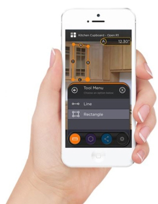 An image showing Smart Picture's measurement tools for its smartphone app.