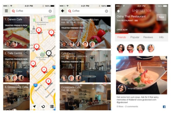 Screenshots of Spotsetter's now shuttered social map searching mobile app.