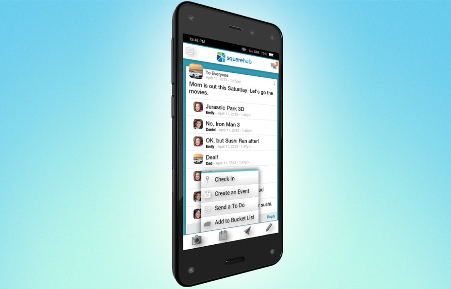 The Squarehub app on Amazon's Fire Phone.
