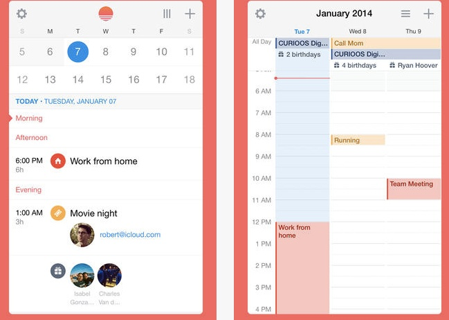 The Sunrise calendar app